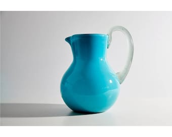 Handblown Aqua Pitcher