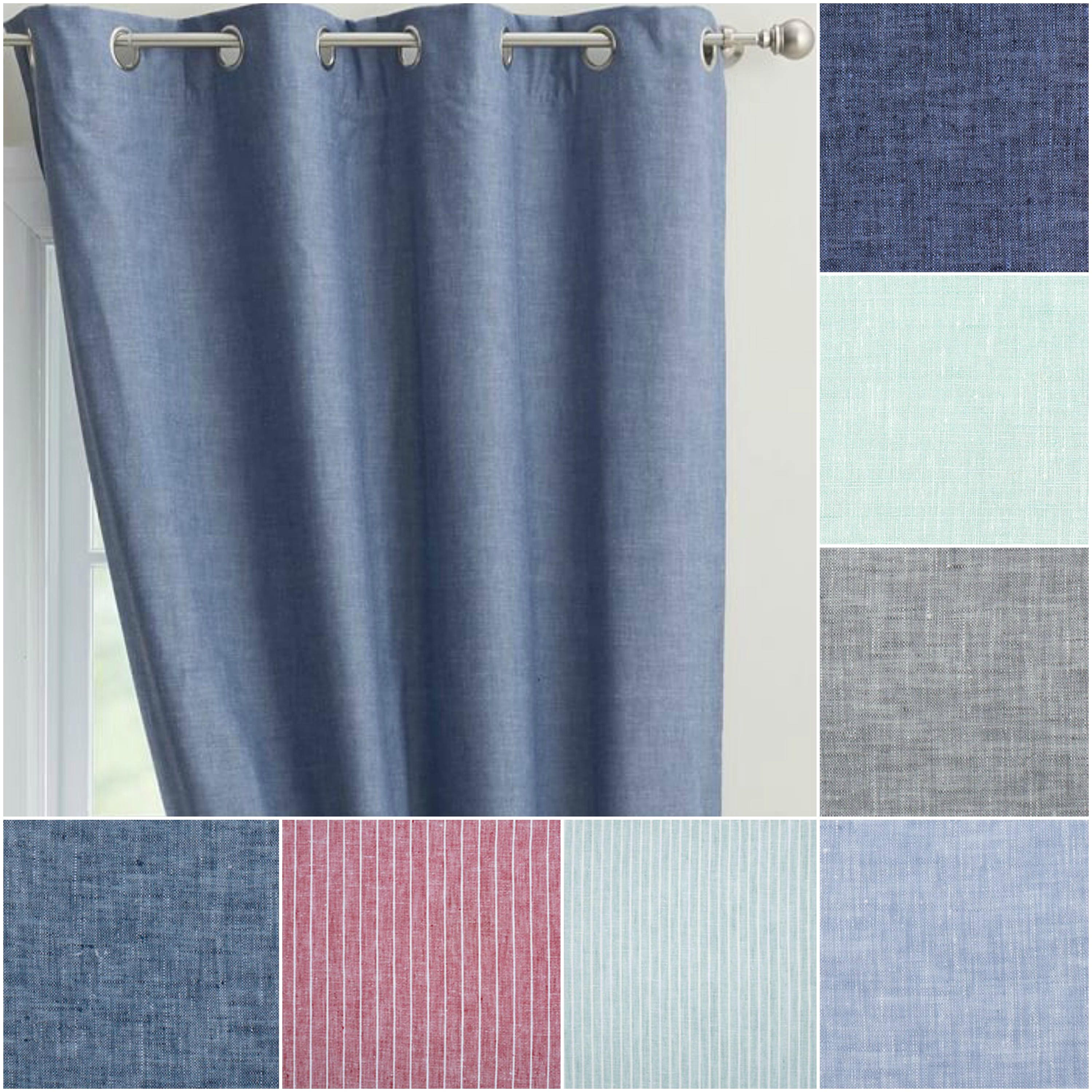 Custom Chambray 100 Linen Drapes With Lining You Pick The Color And Size