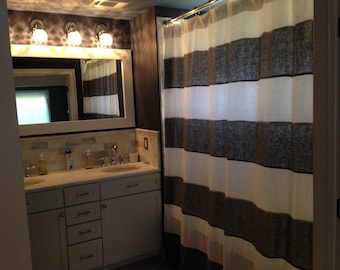 Stripe Linen Shower Curtain - You pick the colors
