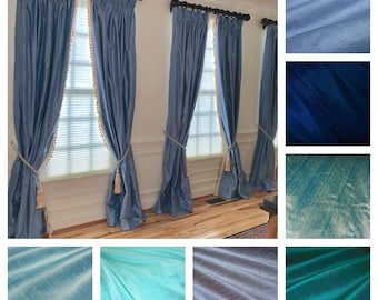 Blue Silk Dupioni Drape with Lining - You pick the color and style