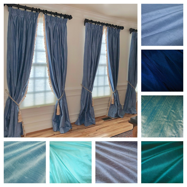Blue Silk Dupioni Drape with Lining  You pick the color and image 0