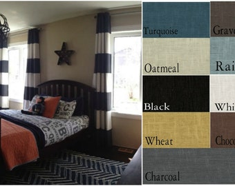 Custom Rugby Stripe Grommet Drape with Lining - You pick the colors