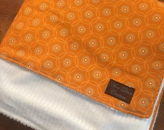 Circles Large Orange Baby Blanket