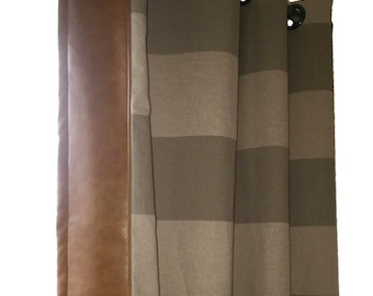 Custom Cabana Stripe Grommet Drapes with Leather Trim- You pick the color