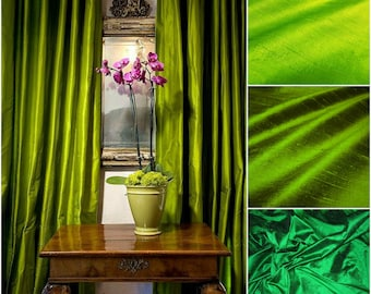 Green Silk Dupioni Drape with Lining - You pick the color