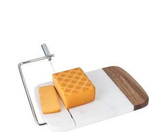 Marble and wood wire cheese slicer