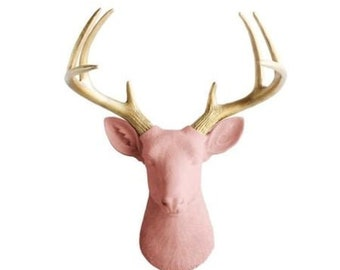 Large Woodland Deer Head Wall Art - White, Salmon, or Fuchsia