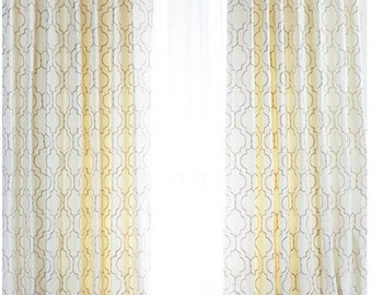 Embroidered Quatrefoil Drapes with Thermal Suede Lining