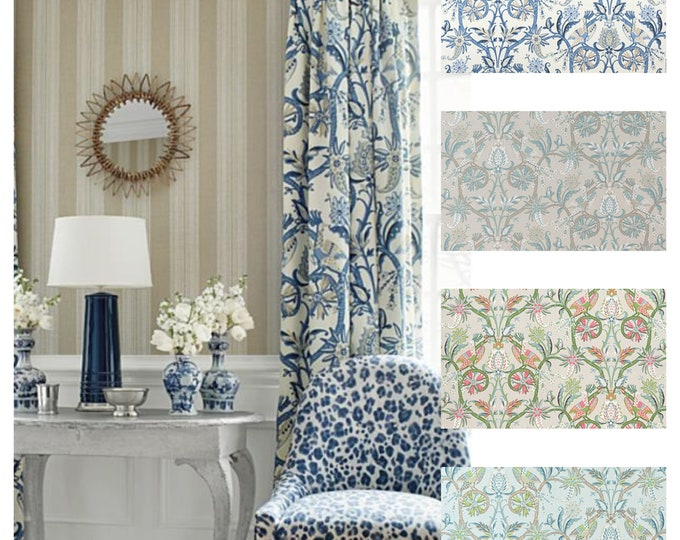 Featured listing image: Custom Designer Thibaut Peacock Garden Drapes You pick the fabric and style - Lined