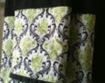 Chartreuse and dark brown damask towel set - Ready to ship