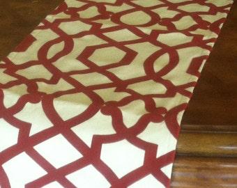 """Red Trellis Table Runner with Velvet Detail up to 106"""" long"""