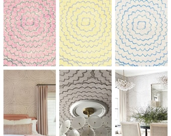 F. Schumacher Feather Bloom Sisal Wallpaper (Packaged in double rolls)  (other colors available)