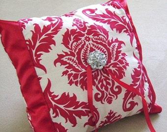 Victorian Red Damask Ring Bearer Pillow