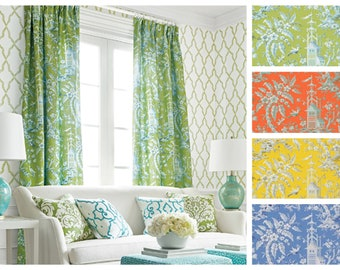 Custom Designer Pagoda Garden Drapes You pick the fabric and style - Lined