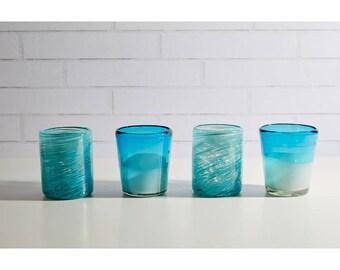 Handblown Aqua Glasses - Set of 4