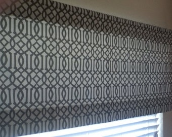 """Taupe and ivory Trellis valance 50"""" x 22"""" - ready to ship"""