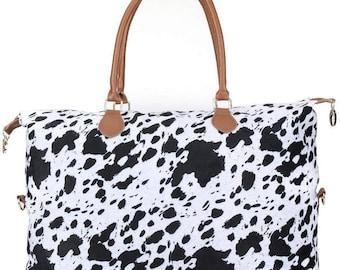 Cow Print Weekender Bag
