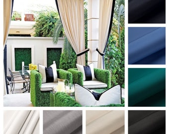 Sunbrella Custom Outdoor Drapes with band detail and Tie back - You pick the colors