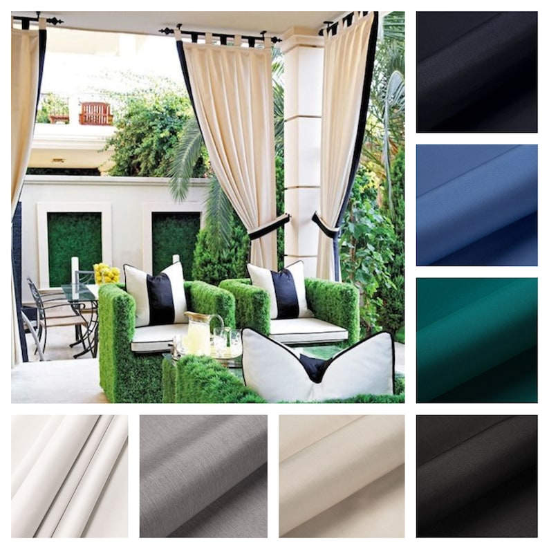 Sunbrella Custom Outdoor Drapes with band detail and Tie back image 0