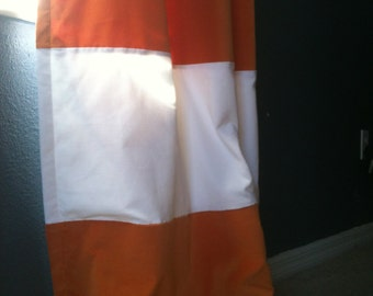 """Pair of 50"""" x 96"""" ring top style Velvet Stripe Orange and White Lined Drapes  - Ready to ship"""