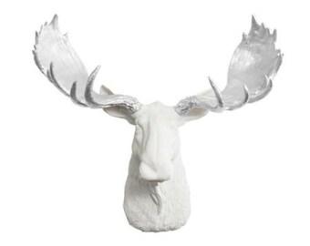 Large White Moose Wall Art