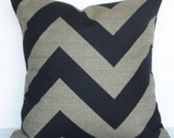 Black and Denton Beige Large Chevron Pillow Cover