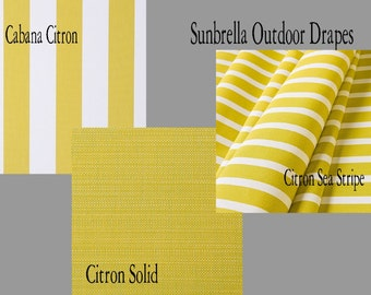 Sunbrella Custom Outdoor Stripe and Solid Citron Outdoor Drapes - You pick the style and fabric