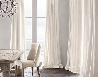 Luxurious White Velvet Drape with Thermal Lining