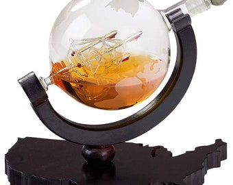 Decanter on United States Map Tray