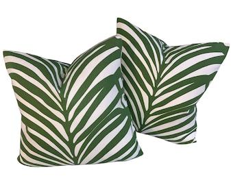 Schumacher Zebra Palm Pillow Cover