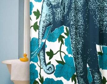 Thomas Paul Elephant Floral Shower Curtain