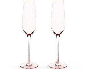 Rose Crystal Champagne Flutes