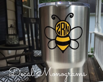 Bumble Bee Monogram Vinyl Decal