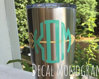 Monogram with Arrow Vinyl Decal