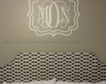 Modern Rectangle Frame with Monogram Vinyl Wall Decal