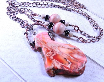 Long Boho Summer Necklace w Imperial Jasper Pendant and Oxidized Chain