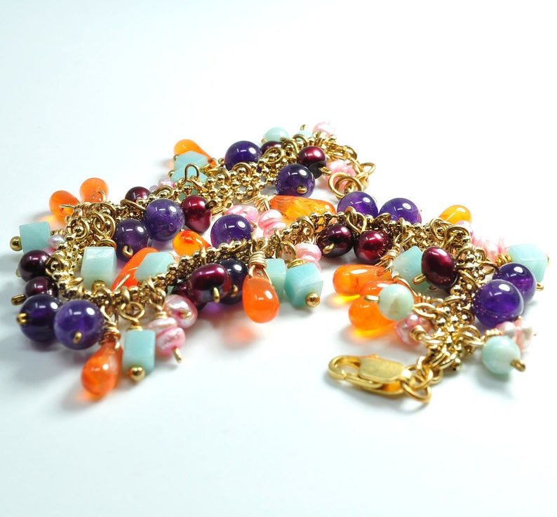 Multi Gemstone Bracelet with Gold Plate Chain with Carnelian Amethyst Amazonite Pearls