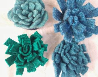 handmade Felt Flowers, Upcycled Wool, Handcut Make your own corsage, wreath, garland or wall art, 6 flowers in shades of blue, green