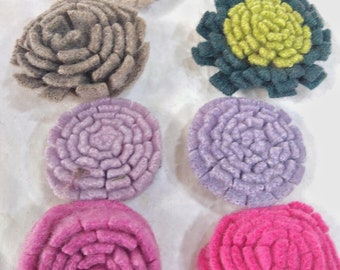 handmade Felt Flowers, Upcycled Wool, Handcut Make your own corsage, wreath, garland or wall art, 8 flowers mix