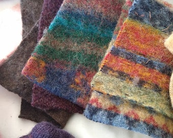 1 Pound Felted Wool 2\u201d Squares for Rug Hooking Penny Rugs Upcycled Recycled Wool Sweters