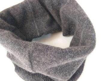 Cashmere Neckwarmer,  Neck warmer, Gaiter, Upcycled  neckwarmer, Unisex Scarf, gray, double layer, reversible