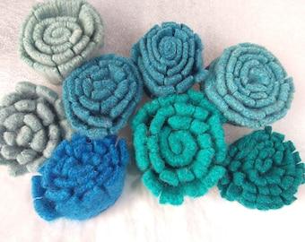 handmade Felt Flowers, Upcycled Wool, Handcut Make your own corsage, wreath, garland or wall art, 8 flowers blues or aqua, greenish