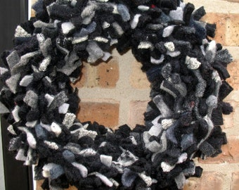 Black and Gray wreath, wool wreath, Fiber Art Wreath - Recycled Felted Wool - OOAK - Decor for Wall or Table