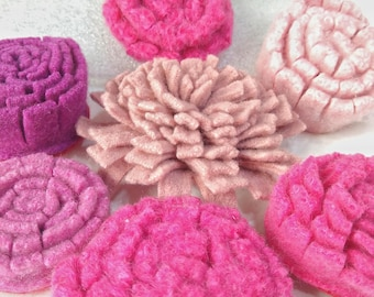 handmade Felt Flowers, Upcycled Wool, Handcut Make your own corsage, wreath, garland or wall art, 8 flowers pink