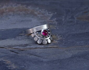 Sunflower Slice Ring with Ruby