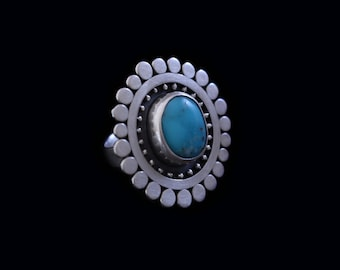 Turquoise Sunflower Cocktail Ring
