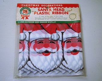 vintage christmas ribbon plastic santa banner outdoor christmas decoration outdoor christmas banner nos santa claus ribbon