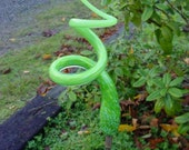 Summer Green Garden Art Finial Tigger Tail Sculpted Glass