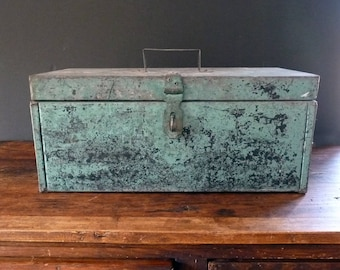 Vintage Metal Toolbox Green Aged Patina Weathered Rustic Distressed Storage Industrial Decor
