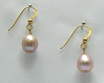 Pink Teardrop Pearl Earrings